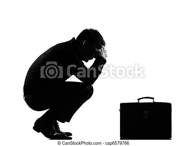 silhouette  man  fatigue despair tired - csp6579766