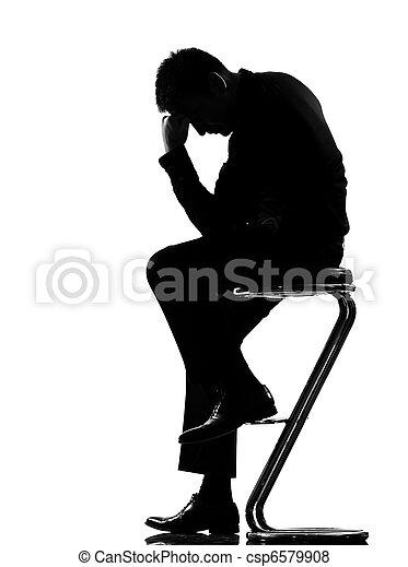 silhouette  man  fatigue despair tired - csp6579908