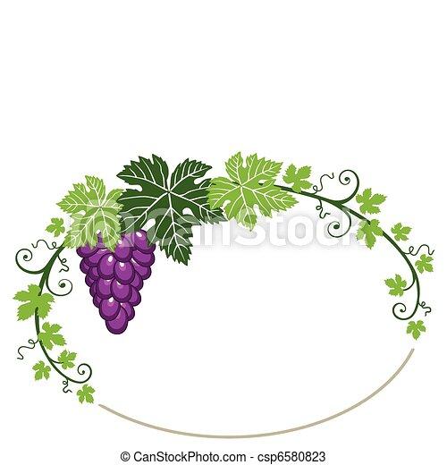 uvas, marco, hojas, blanco - csp6580823