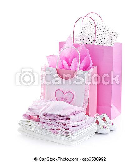 Stock foto van roze baby douche kadootjes roze cadeau zakken en csp6580992 zoek - Baby douche ...