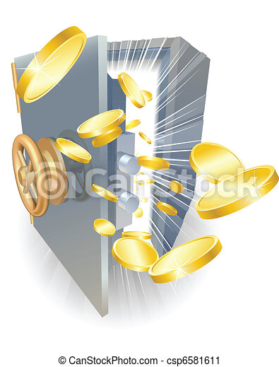 Safe with gold coins flying out - csp6581611