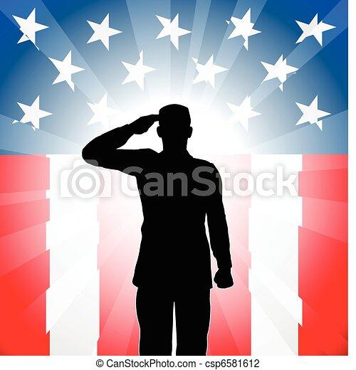 Patriotic soldier salute - csp6581612