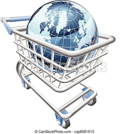 Globe shopping cart concept  - csp6581613