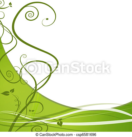 Clip Art Vector of Green Leaf Nature Vine Background - An image of ...
