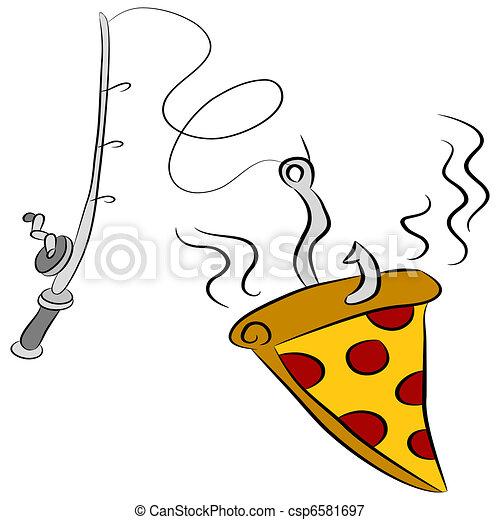 Vectors Illustration of Pizza Fishing Lure