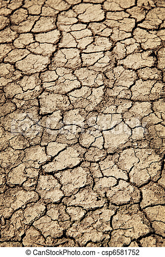 Dry cracked ground during drought - csp6581752