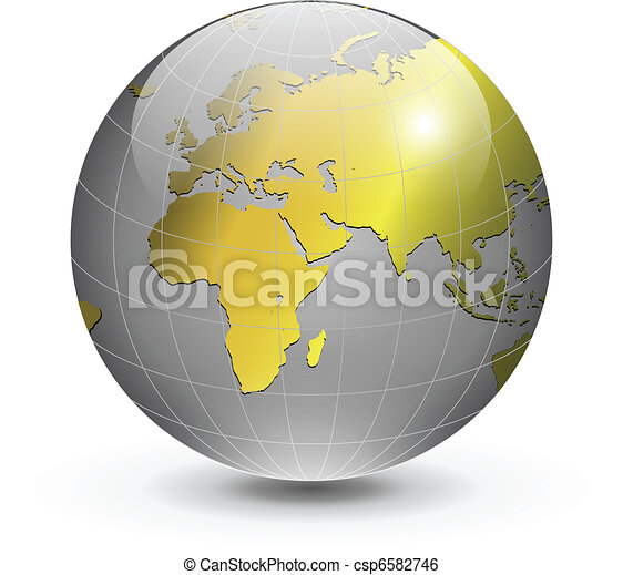 Globe of the world gold - csp6582746