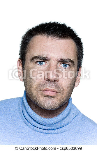 expressive portrait on isolated background of a stubble man perplex confuse frown - csp6583699