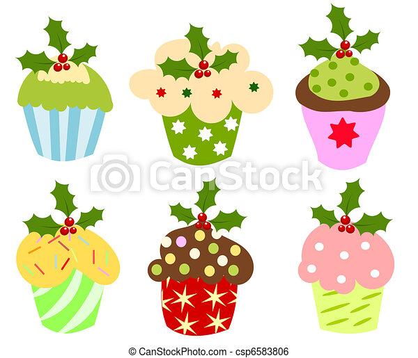 Christmas cupcakes - csp6583806