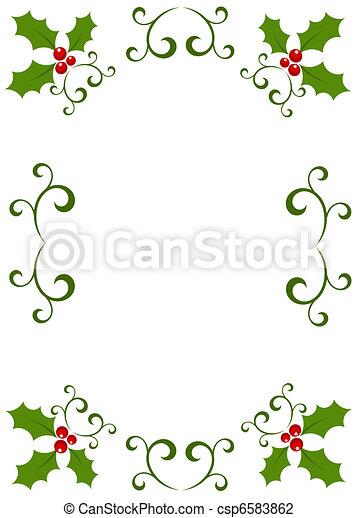 Christmas holly frame - csp6583862