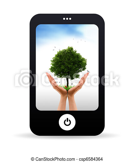 Mobile Phone and Tree alive - csp6584364