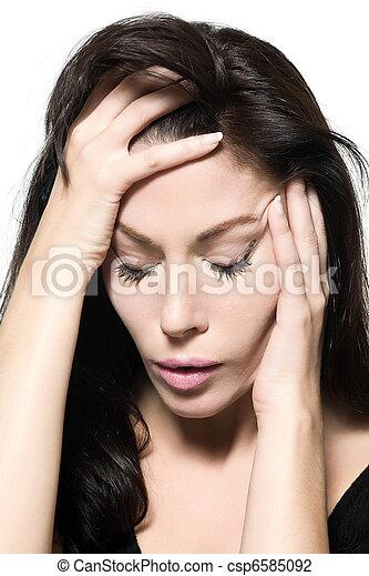 woman portrait hangover sad migraine grief depression - csp6585092
