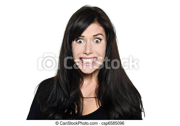 woman beautiful portrait stress fear toothy smile - csp6585096