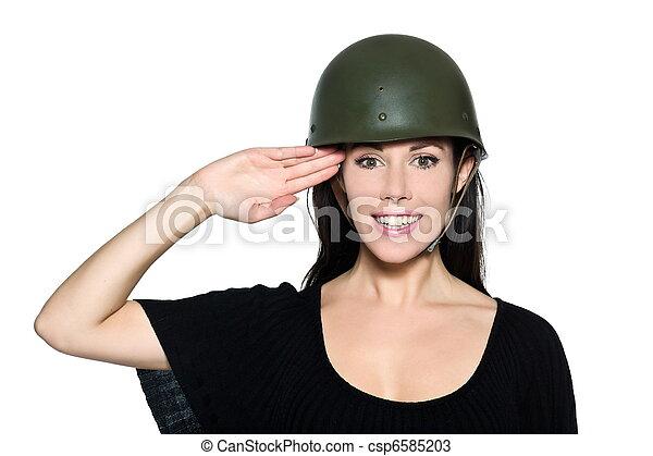 hermoso, casco, mujer, saludar, soldado - csp6585203