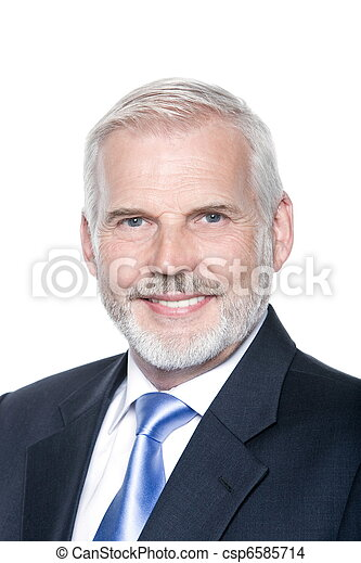 Senior businessman portrait toothy smiling - csp6585714