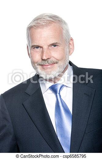 Senior businessman portrait smiling positivity - csp6585795