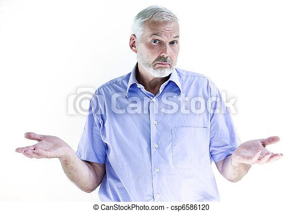 Senior man portrait dumb ignorance - csp6586120