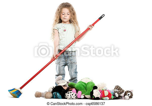 Little girl sweeping toys - csp6586137