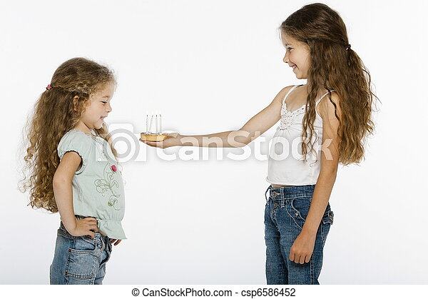 Girl offering bithday cake - csp6586452