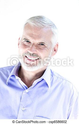 Senior man portrait toothy smile - csp6586602