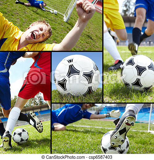 Collage of soccer ball on the field with footballers and their legs