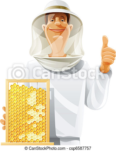 bee-keeper with bee hive - csp6587757