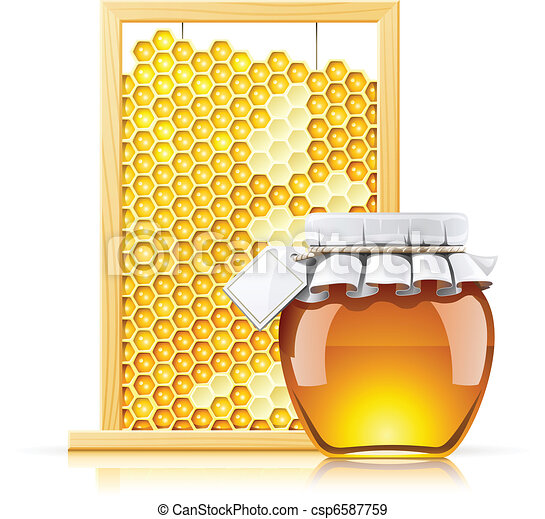 jar with honey and honeycomb - csp6587759