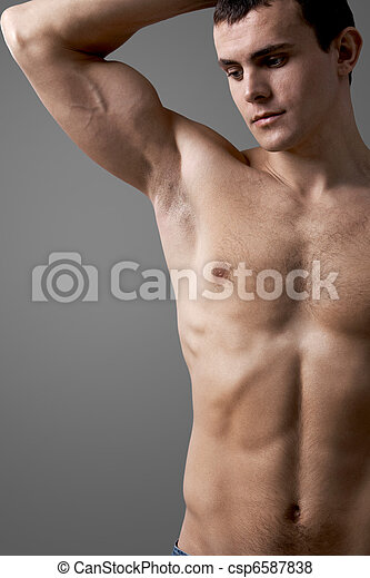 Shirtless man - csp6587838