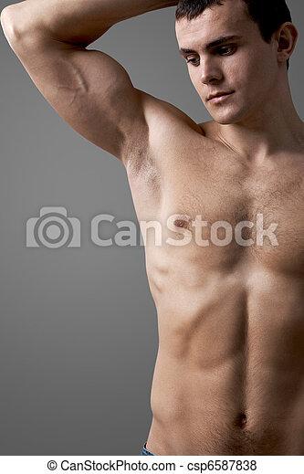 Shirtless man - csp6587838
