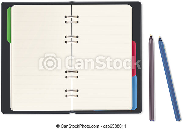 Notebook and office supplies.  - csp6588011