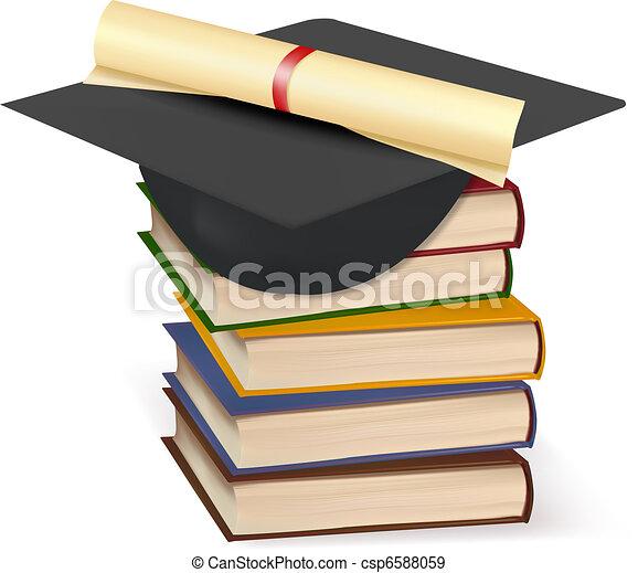 Graduation cap and diploma - csp6588059