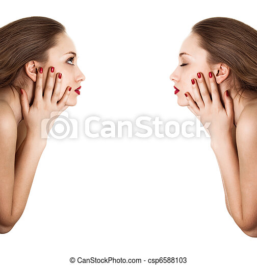 Collage. Sideview portrait of beauty woman with red bright manicure