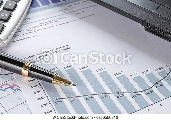 finanziell, Stift, begriff, Daten - csp6588310