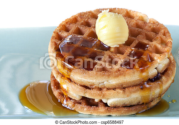 Waffles with Syrup and Butter - csp6588497