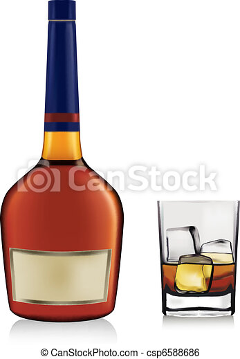 Bottle with brandy and glass  - csp6588686