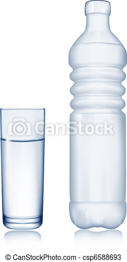 Water bottle and glass. Vector. - csp6588693