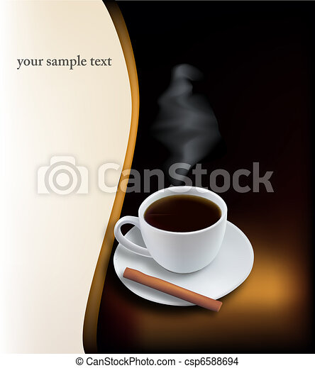 Coffee cup on black background. - csp6588694