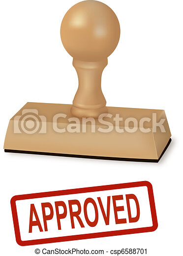 Rubber stamp with the word approved - csp6588701