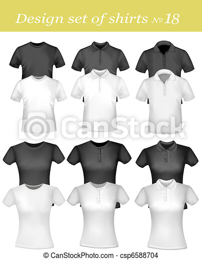 Black and white men polo shirts - csp6588704