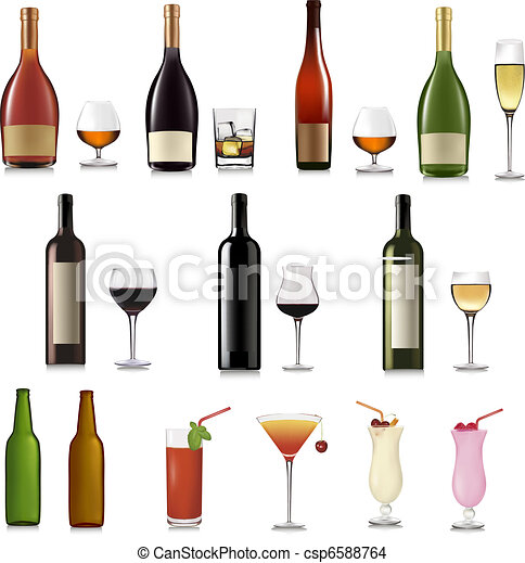 Set of different drinks and bottles - csp6588764
