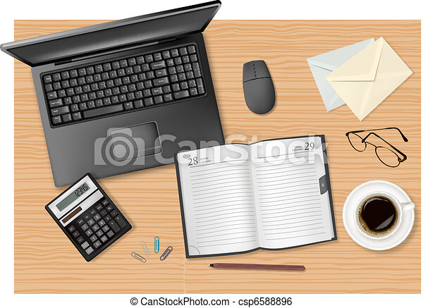 laptop and office supplies - csp6588896