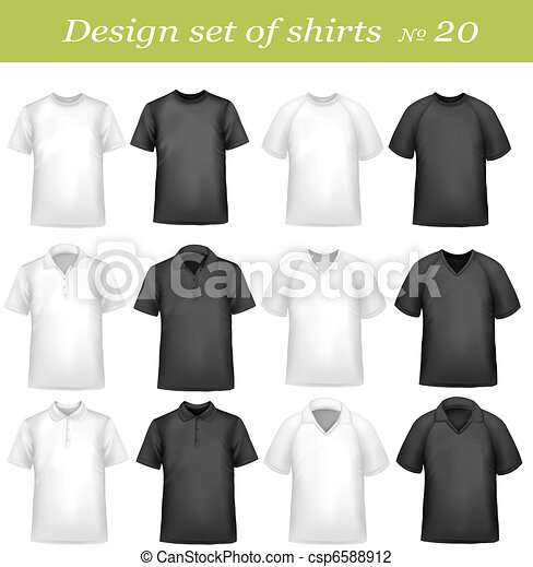 Black, and white men polo shirts - csp6588912
