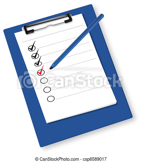 Clipboard with check-boxes. Vector. - csp6589017
