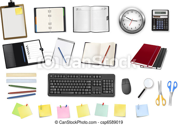 some office supplies. Vector. - csp6589019
