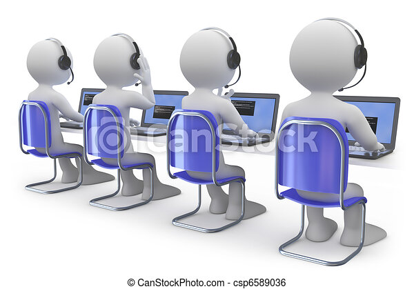 Employees working in a call center - csp6589036