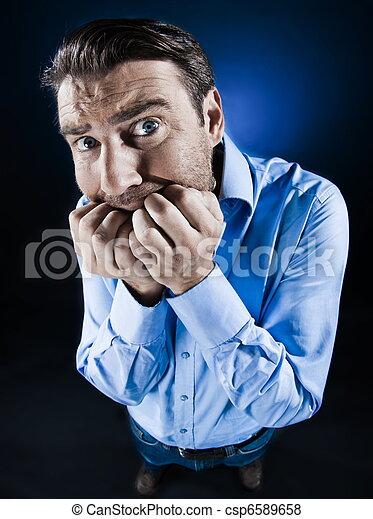 Man Scared Anxious fear - csp6589658