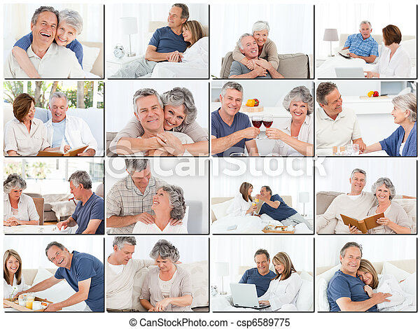 Collage of elderly couples hugging and relaxing - csp6589775