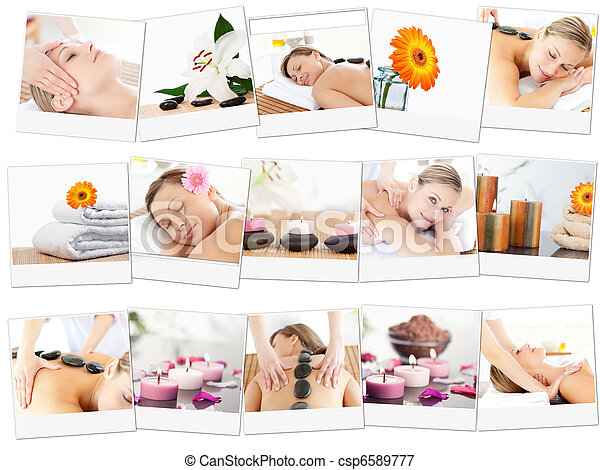 Montage of beautiful women relaxing - csp6589777