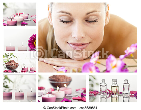Collage of a beautiful blond woman relaxing - csp6589861