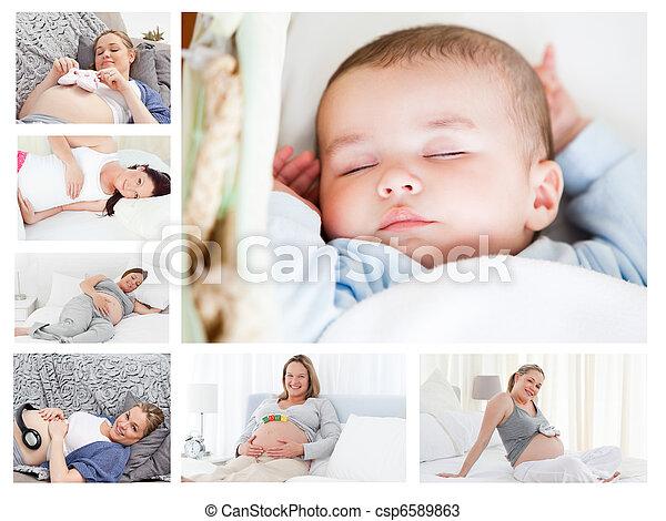 Photos of pregnant women surrounding a baby - csp6589863
